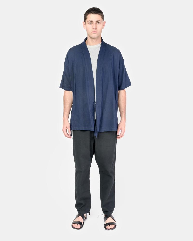 Onsen Cardigan in Indigo-Dyed Panama Cloth