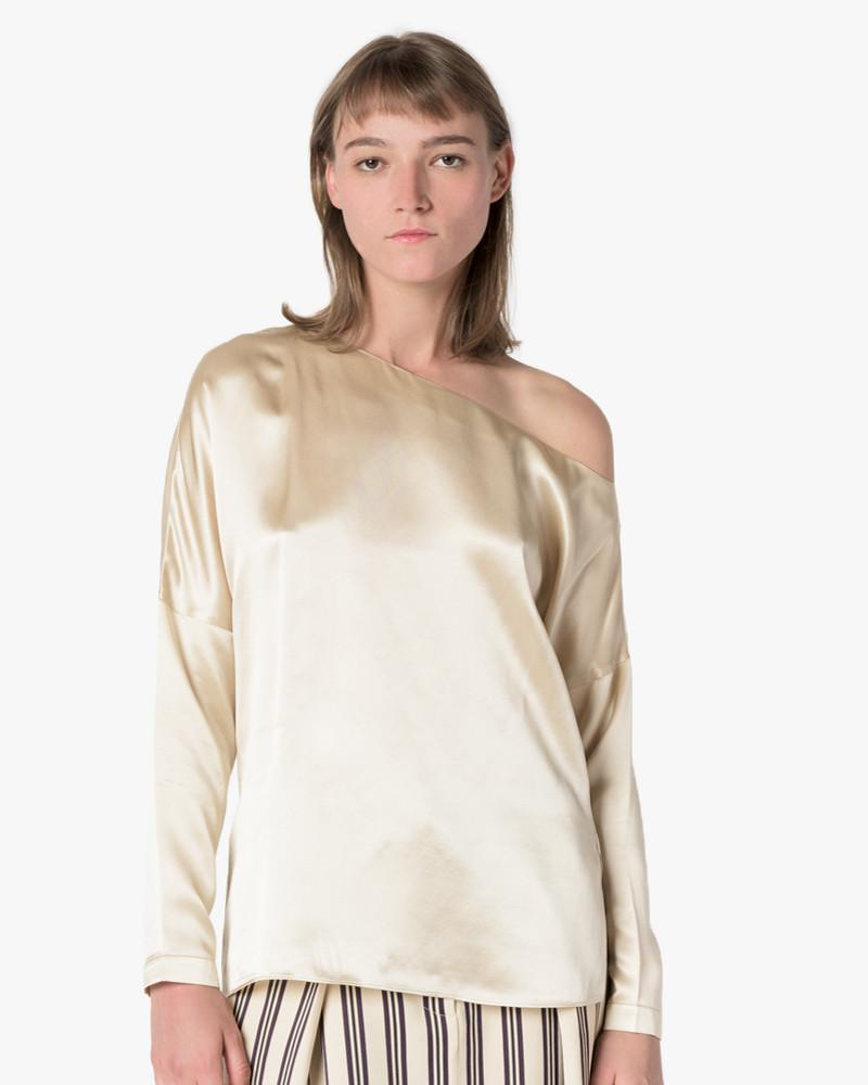 Crepe Satin Asymmetrical Top in Champagne
