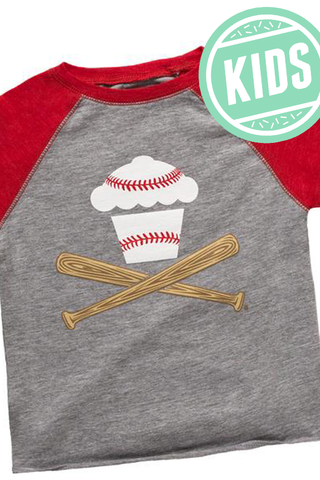 Baseball Crossbones Raglan Kids