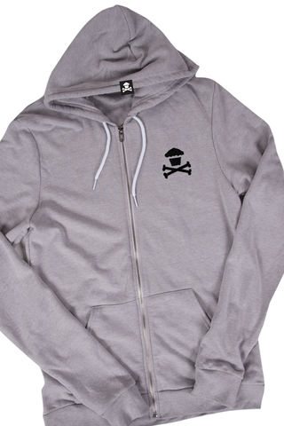 World's Softest Embroidered Mini Crossbones Zip (Heather Grey)