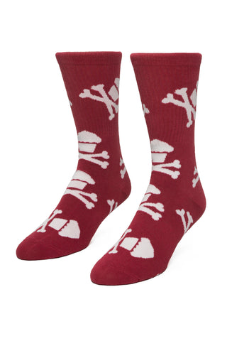 Burgundy/White Crossbones Socks
