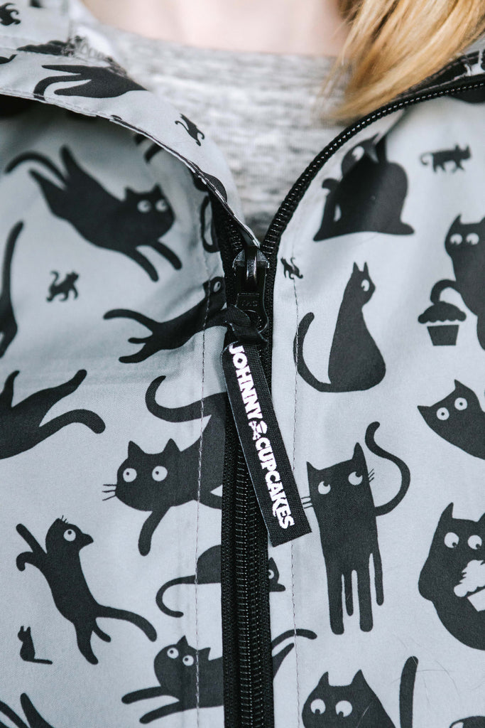 Cat Pattern Windbreaker Jacket