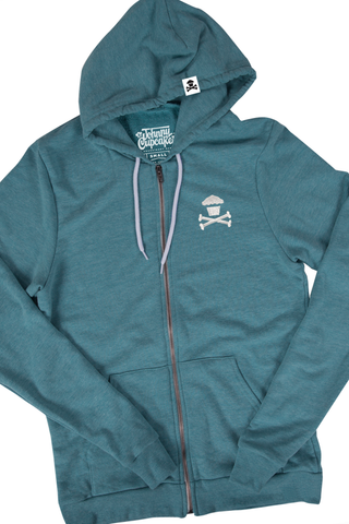 World's Softest Embroidered Mini Crossbones Zip (Teal)