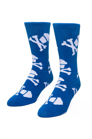Royal Blue/White Crossbones Socks