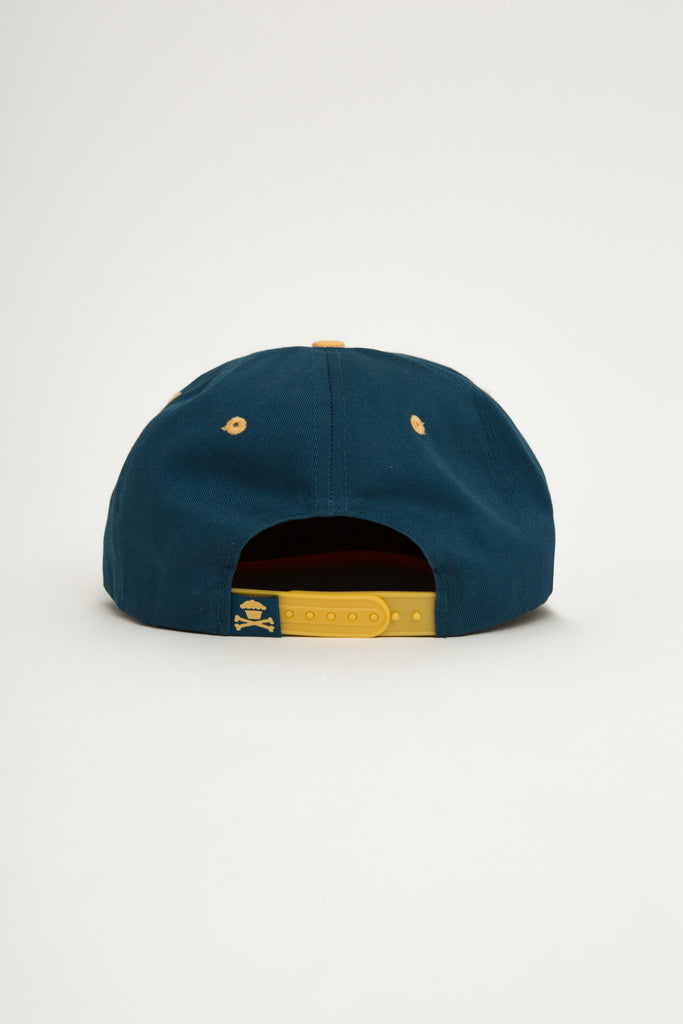 Crossbones Snapback (blue/yellow)