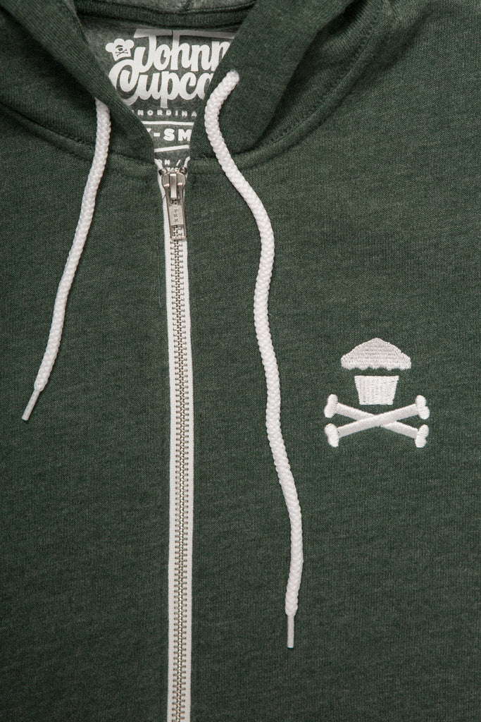 World's Softest Embroidered Mini Crossbones Zip (Heather Forest Green)