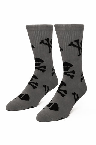 Grey/Black Crossbones Socks