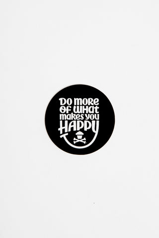 Mini Happiness Round Sticker (black)