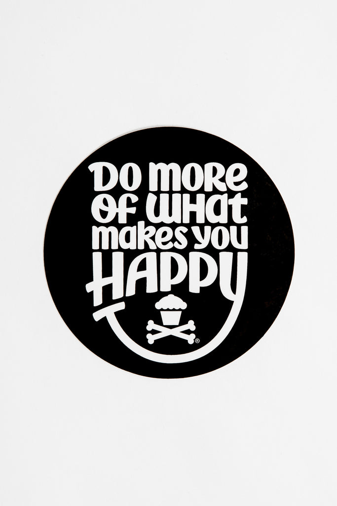 Happiness Round Sticker (black)
