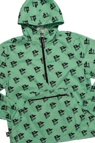 Skeleton Hand Pattern Windbreaker Jacket