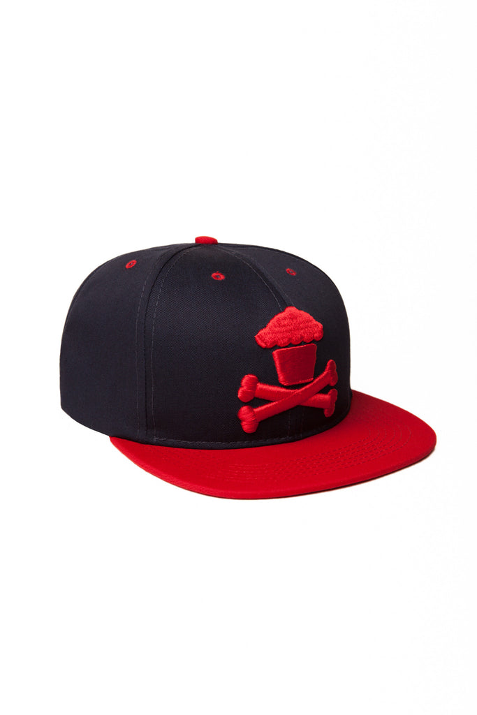 Crossbones Snapback (navy/red)