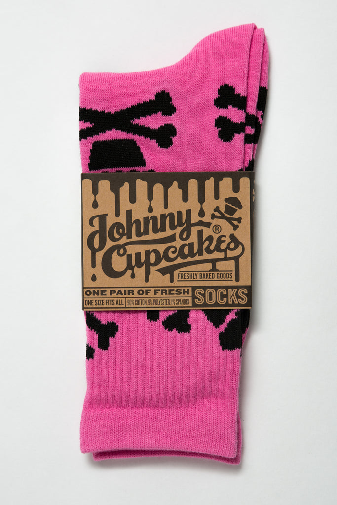 Hot Pink/Black Crossbones Socks