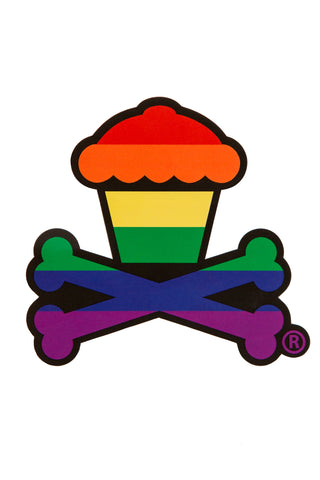 Rainbow Crossbones Sticker