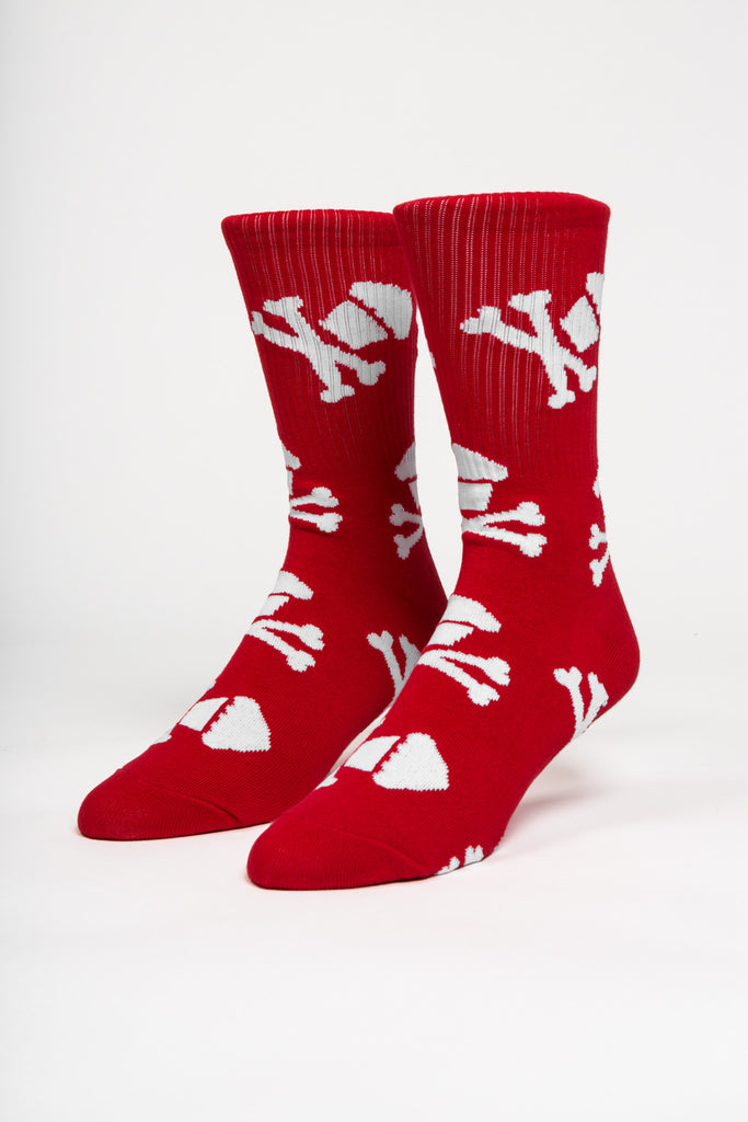 Crossbones Socks (Red/White)