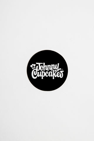 Mini 50's Type Script Round Sticker (black)