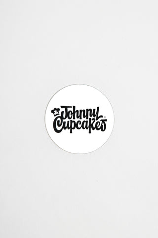 Mini 50's Type Script Round Sticker (white)