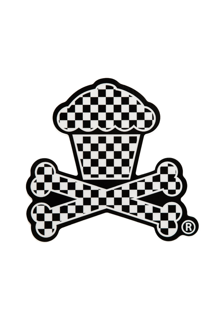 Checkered Crossbones Sticker