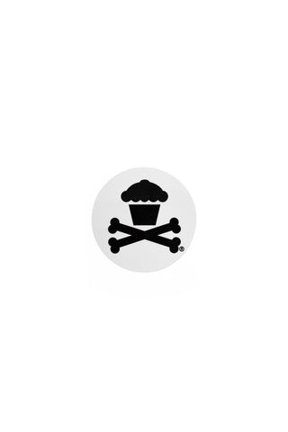 Mini Round Crossbones Sticker (White)