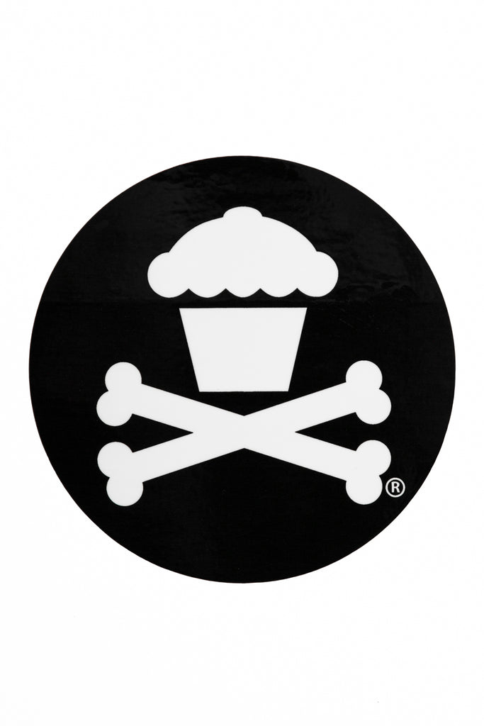 Round Crossbones Sticker (Black)