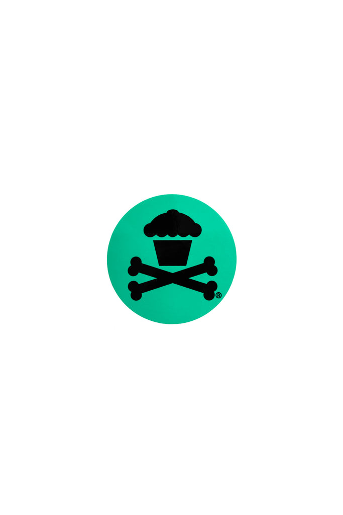Mini Round Crossbones Sticker (Mint)