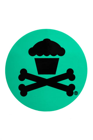 Round Crossbones Sticker (Mint)