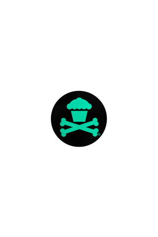 Mini Round Crossbones Sticker (Black/Mint)