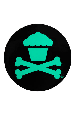 Round Crossbones Sticker (Black/Mint)