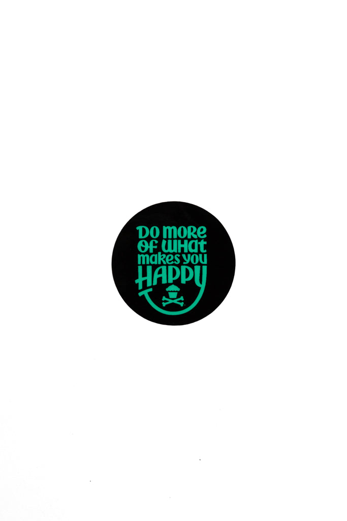 Mini Happiness Round Sticker (Black/Mint)