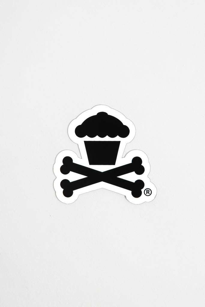Mini Crossbones Sticker (white)