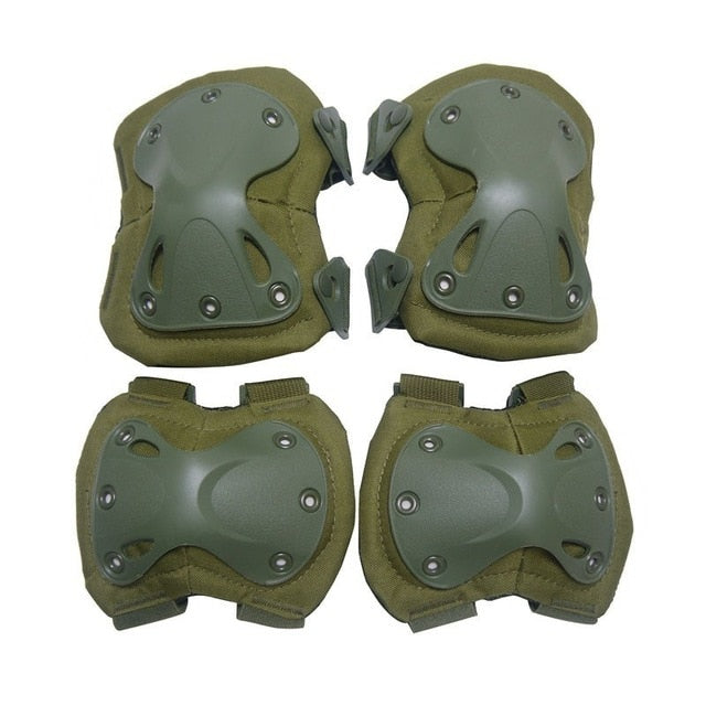 Knee Elbow Pads Protector Set Tactical Paintball Airsoft Hunting Protection Army