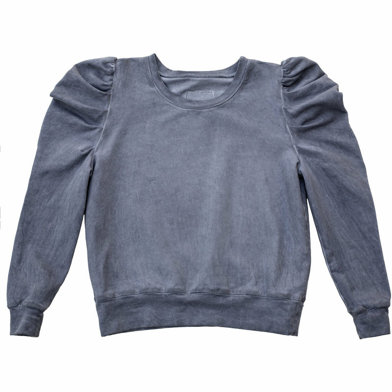 JOLIE PUFFY SLEEVE TOP OIL WASH GREY - Be Mi Los Angeles