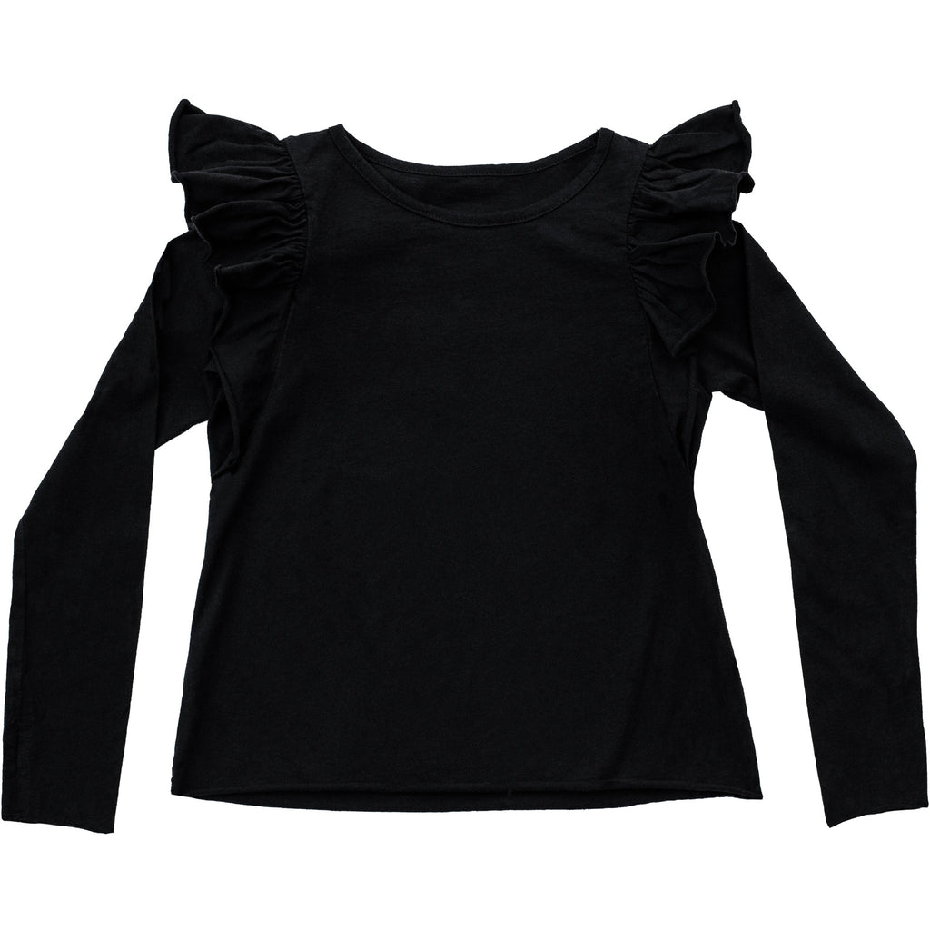 NATALIA RUFFLE TOP BLACK - Be Mi Los Angeles