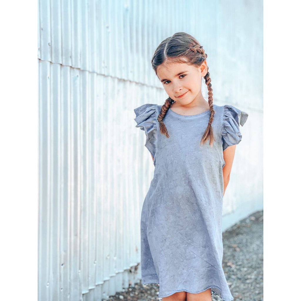 VALENTINA RUFFLE DRESS OIL WASH GREY - Be Mi Los Angeles