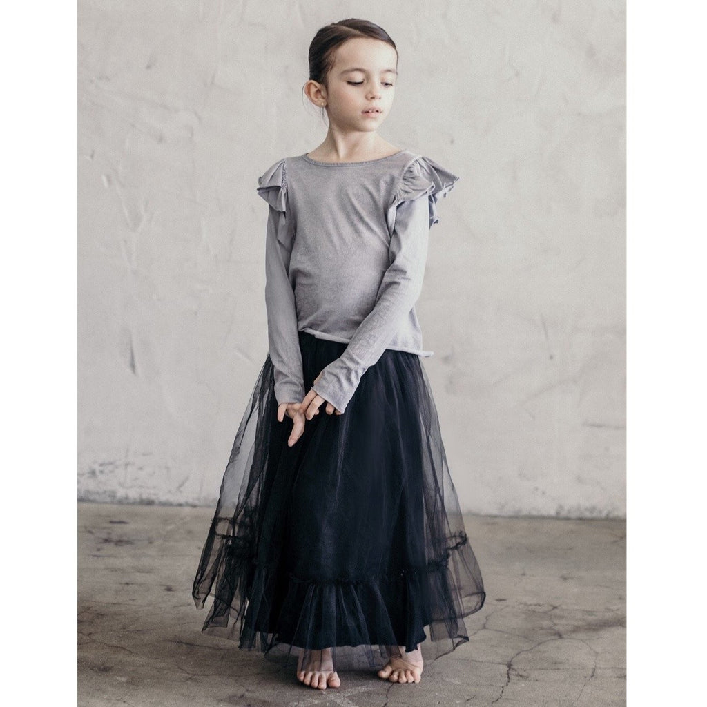 NATALIA RUFFLE TOP OIL WASH GREY - Be Mi Los Angeles