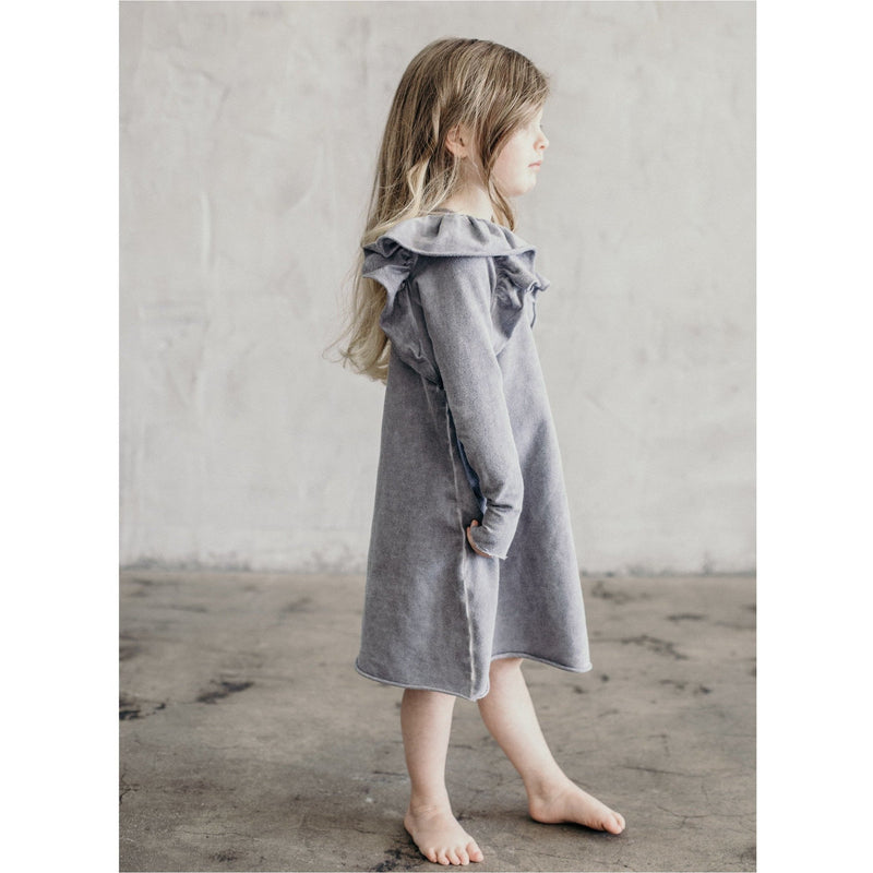 VALENTINA RUFFLE DRESS LONG SLEEVES OIL WASH GREY - Be Mi Los Angeles