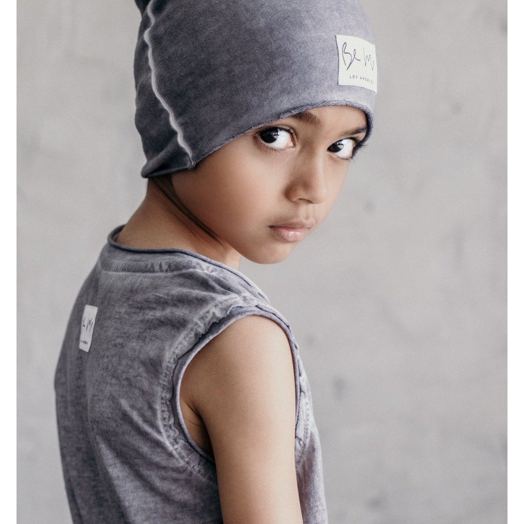 OVERSIZED BEANIE OIL WASH GREY - Be Mi Los Angeles