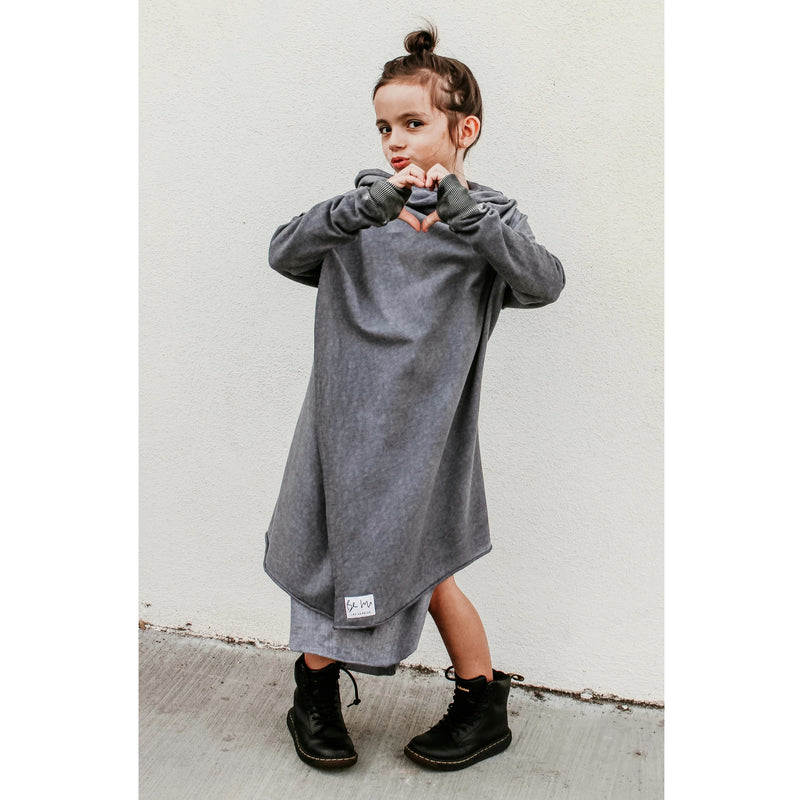 OVERSIZED CARDIGAN OIL WASH GREY - Be Mi Los Angeles
