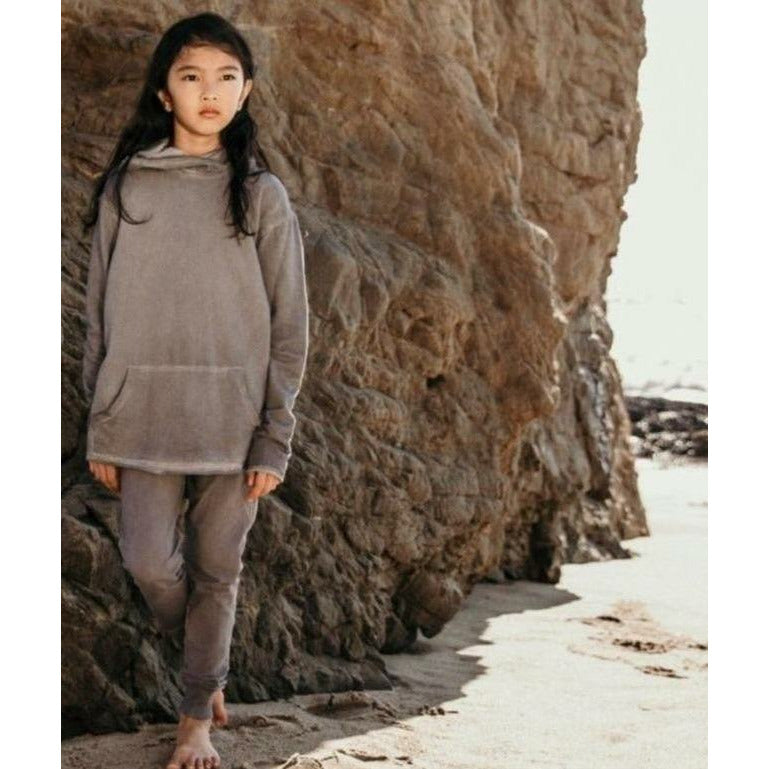 ORGANIC BENJI  HOODIE OIL WASH GREY - Be Mi Los Angeles