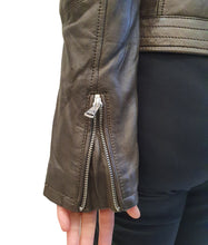 Load image into Gallery viewer, Chocolate Leather Biker Jacket