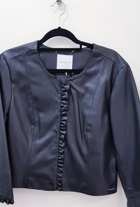 Faux leather frill jacket 2 colours