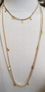 Short Silver and gold double star chain