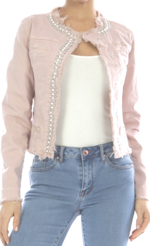 Pink stretchy Denim jacket
