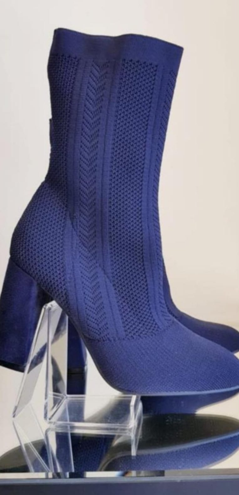Navy block heel boot