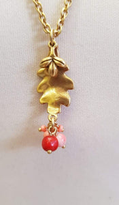 Leaf Pendant with Coral