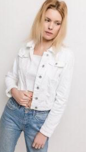 White smart  stretchy denim jacket 2 Colours