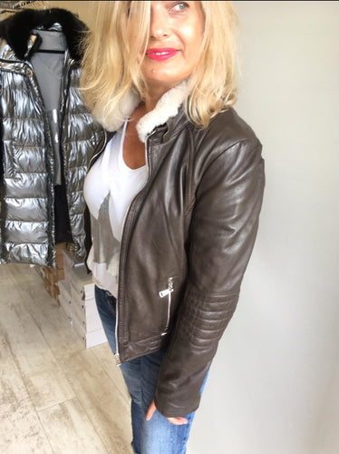 Chocolate Leather Biker Jacket