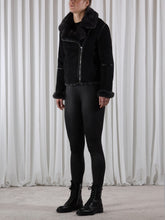 Load image into Gallery viewer, Vegan leather shearling Biker