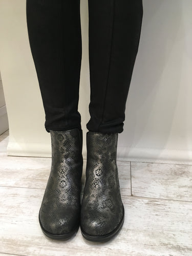 Dark metallic ankle boot