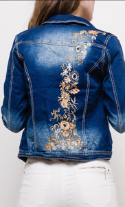 Fitted Embroidered Denim Jacket