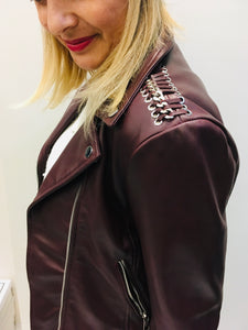 Burgundy leather Biker